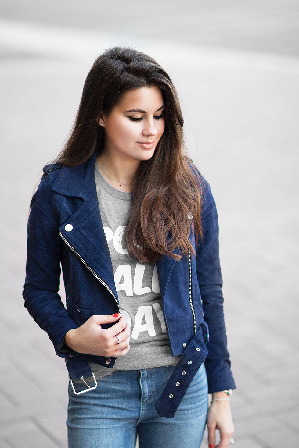 Dress up a Graphic T-shirt with a Suede Moto Jacket --- BLANK NYC Royal Blue Suede Moto Jacket and Dittos Distressed Ankle Skinny Jeans
