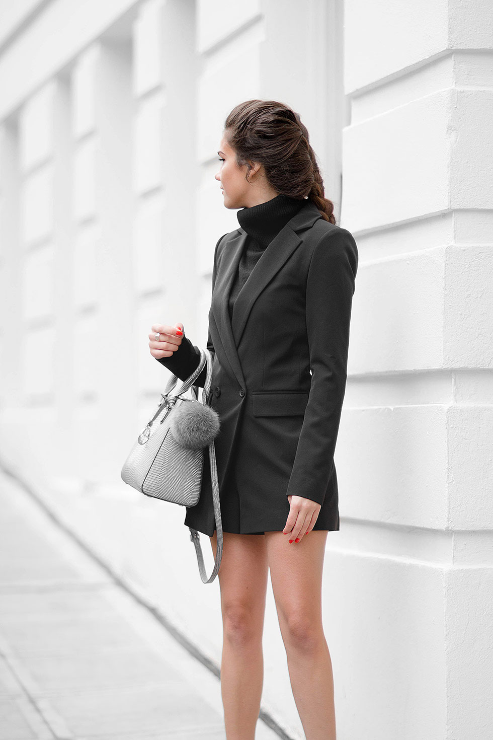 Stay Stylish in a Long Sleeve Blazer Romper this Winter --- Long Sleeve Blazer Romper Dress, Henri Bendel West 57th Small Lizard Turnlock Satchel