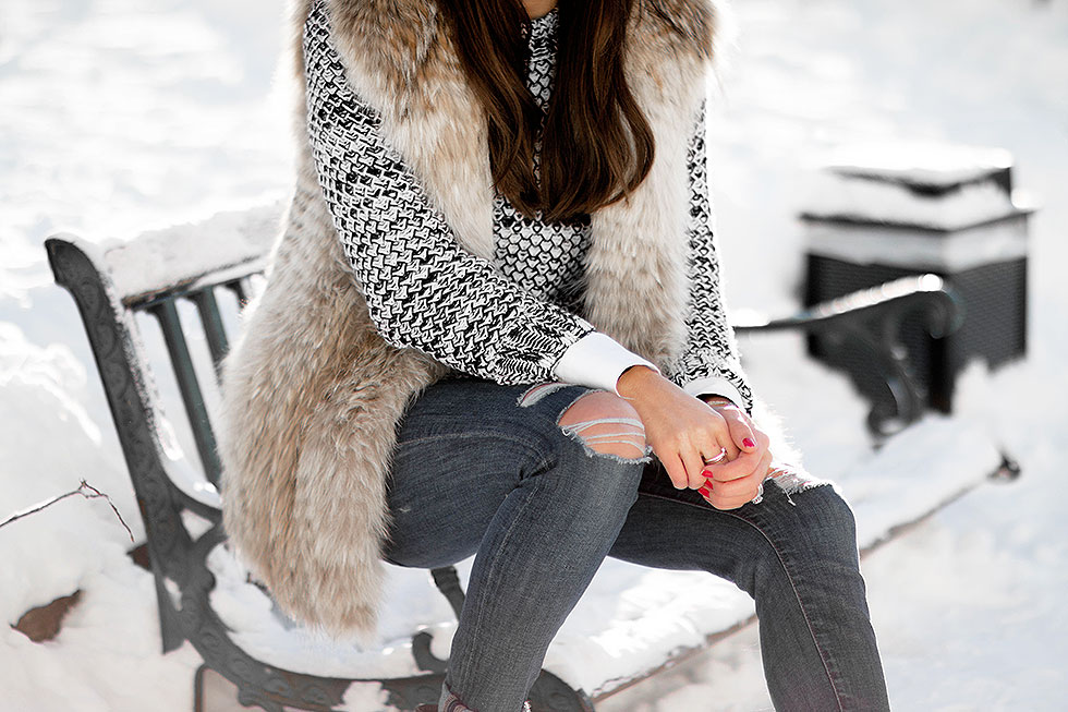 snow outfit featuring Tommy Hilfiger crewneck sweater and fur vest whistler Canada