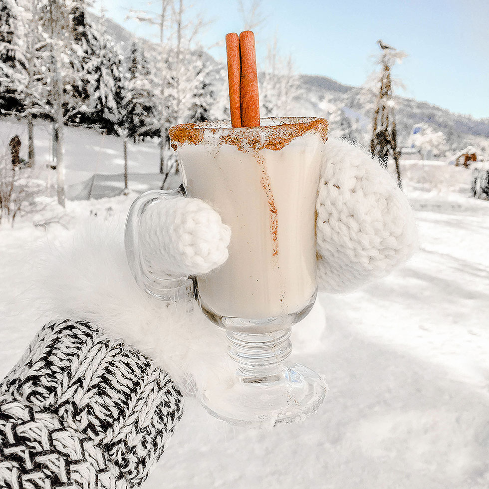 Apres Ski drink in snow whistler Canada