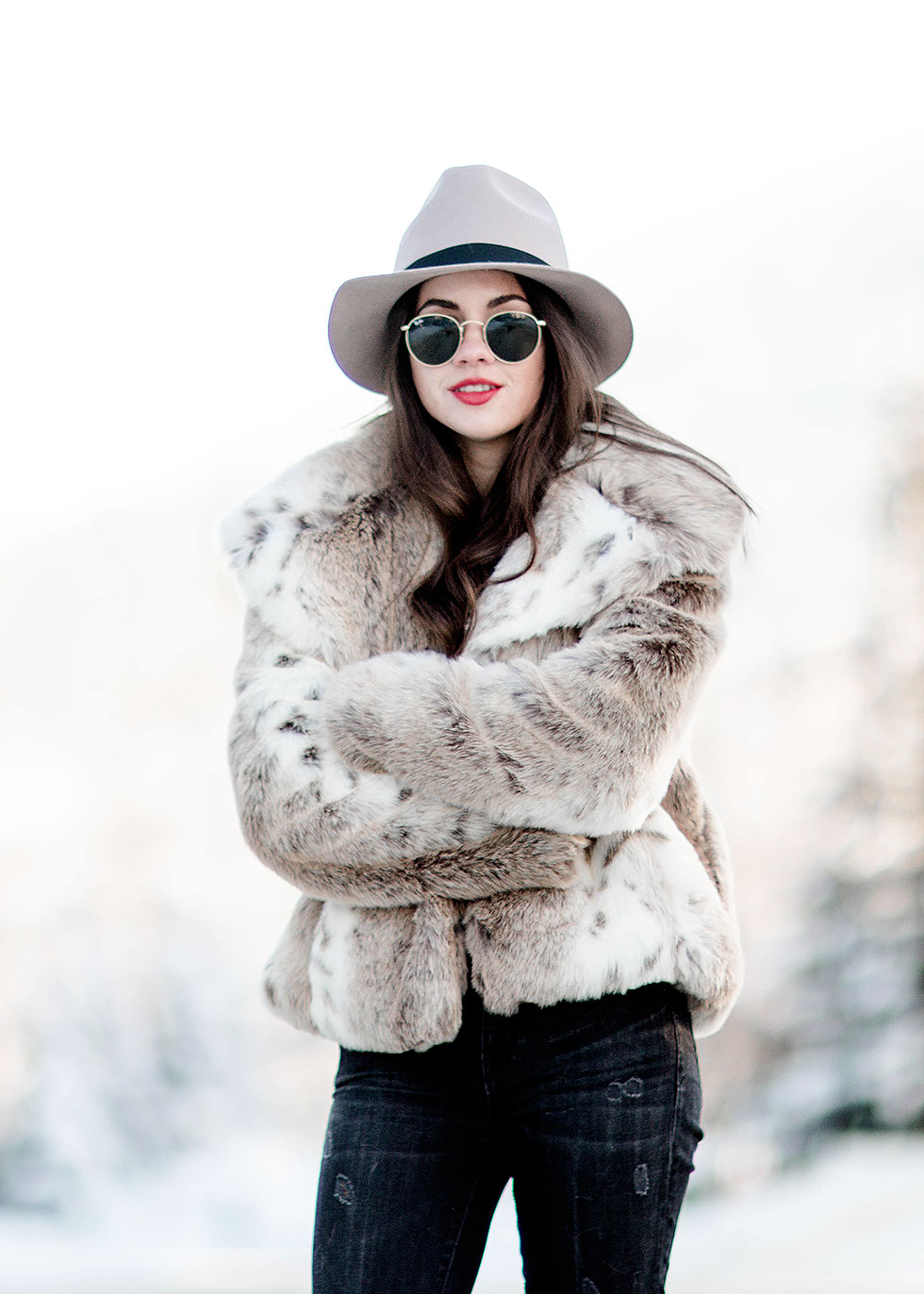 Oversized faux fur statement coat winter outfit whistler canada High Rise Crop Ultra Skinny Jeans, Tan Fedora, Ray Ban 50mm Retro Round Metal Sunglasses