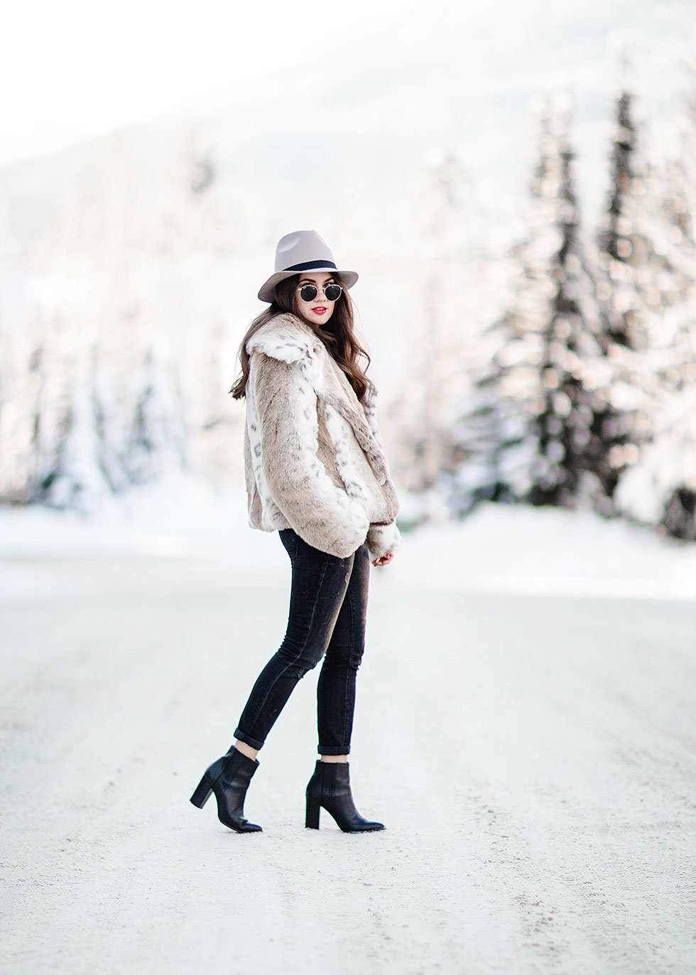 Oversized faux fur statement coat winter outfit whistler canada High Rise Crop Ultra Skinny Jeans, Tan Fedora, Seychelles Accordion Bootie, Ray Ban 50mm Retro Round Metal Sunglasses