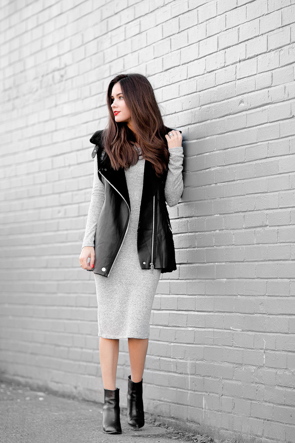 Shearling Leather Biker Vest, Heathered knit cowl neck sweater dress midi length, How To Do Weekend Minimalist Dressing