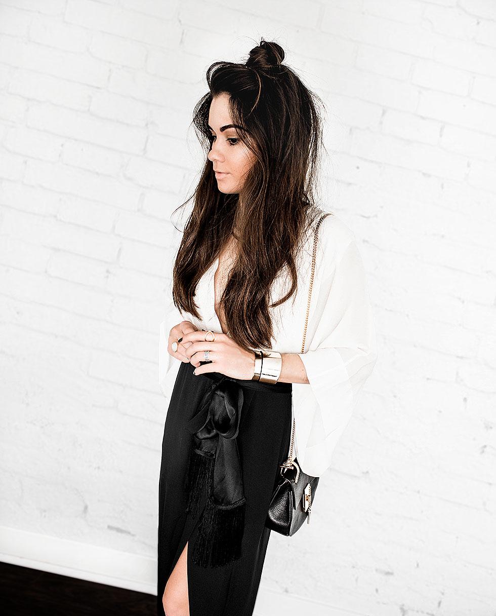 Rachel Zoe Livia Black and White Colorblock Silk Midi Dress