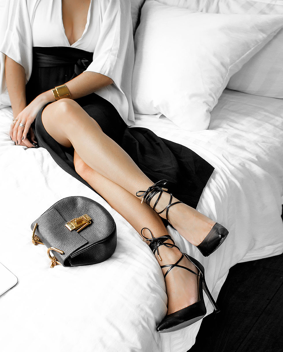 Rachel Zoe Livia Black and White Colorblock Silk Midi Dress, chloe dres bag in black, wraparound ankle tie pumps