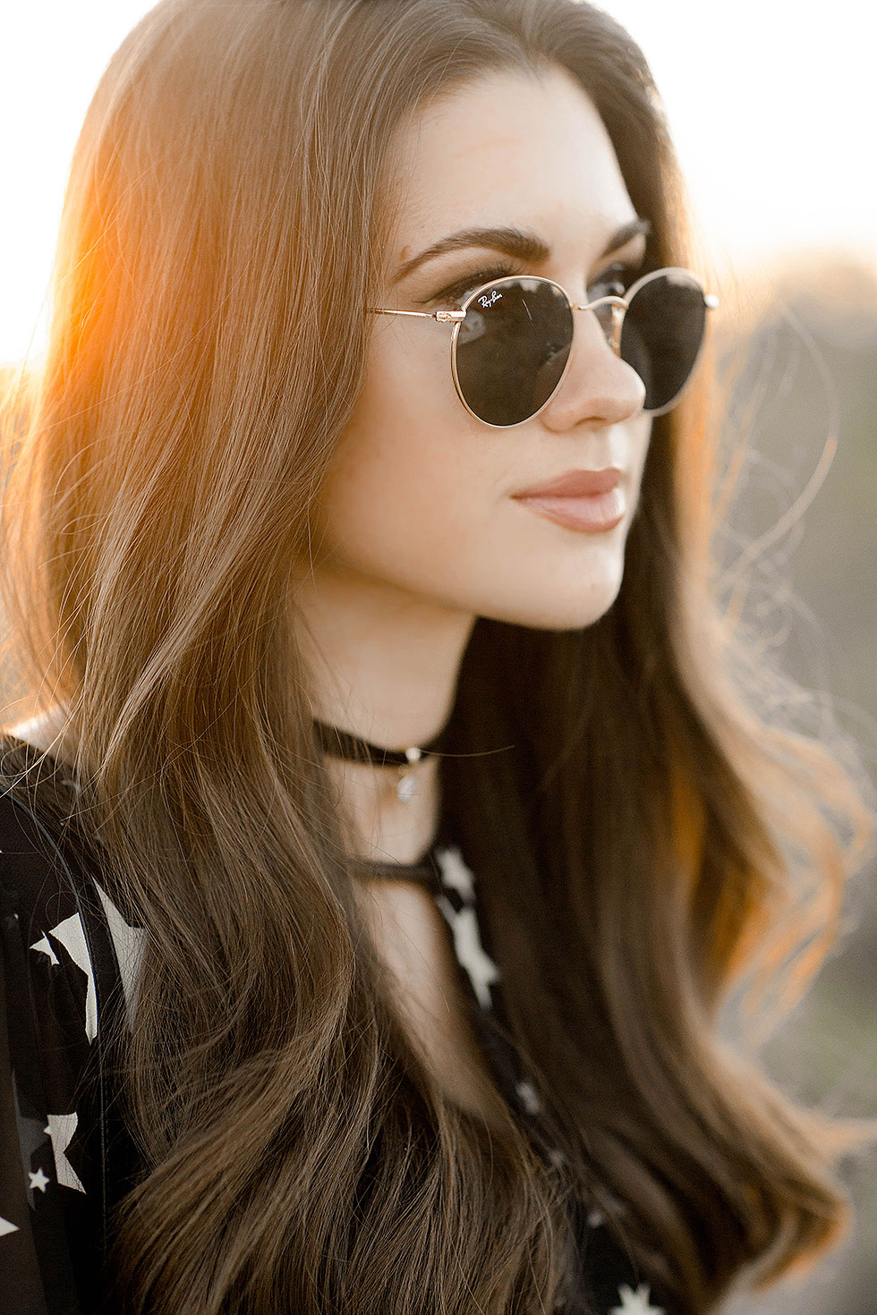 festival style casual long sleeve spring dress --- Ray Ban 50mm Retro Round Metal Sunglasses, LOVERS + FRIENDS Lana Dress in Star Print