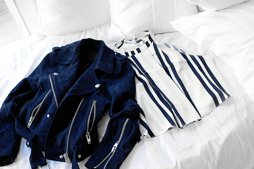 spring weekend outfit featuring stripes - Striped High Neck Crop Tank, Blank NYC Royal Blue Suede Moto Jacket