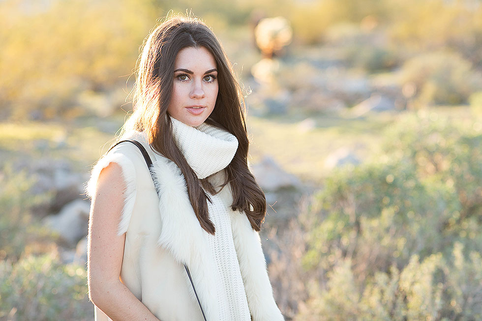 Theory Ivory Shearling Vest Desert Outfit Arizona