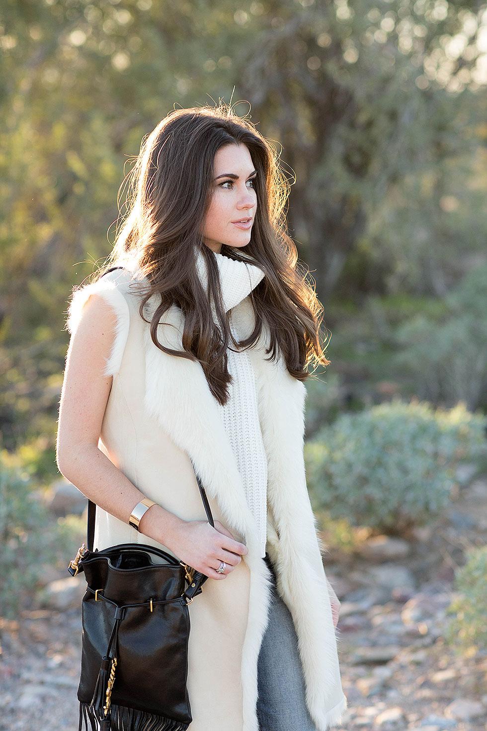 Theory Ivory Shearling Vest, Saint Laurent Monogram Desert Outfit Arizona