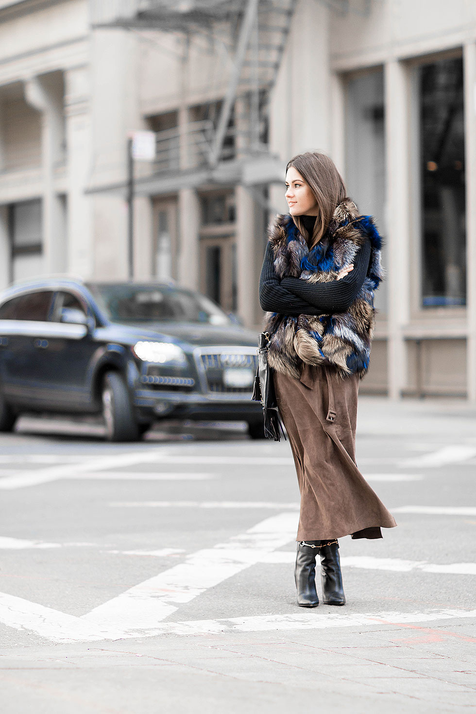 Suede Pencil Skirt and Patchwork Fur Vest New York Fashion Week Winter Street Style