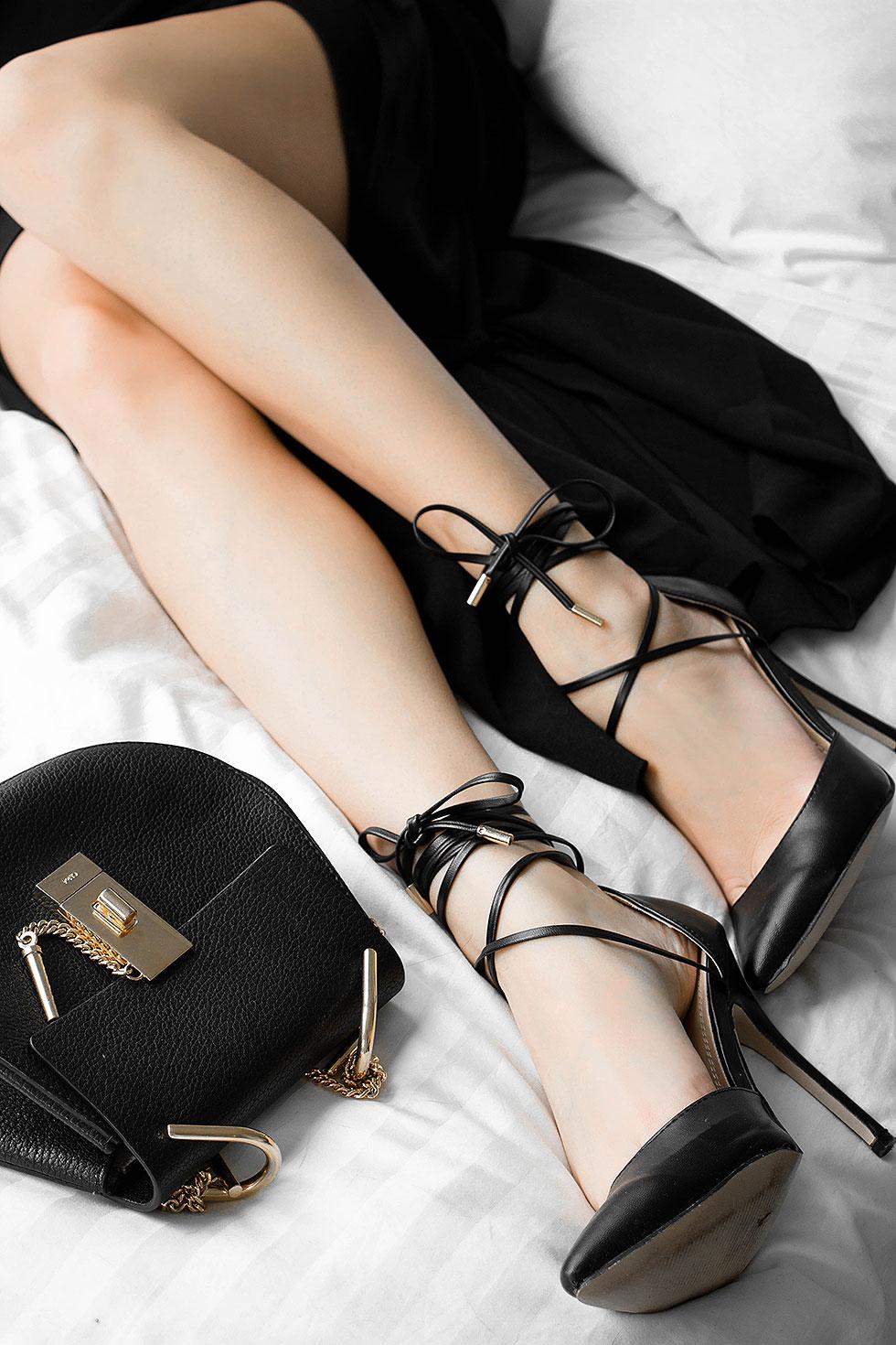chloe dres bag in black, wraparound ankle tie pumps