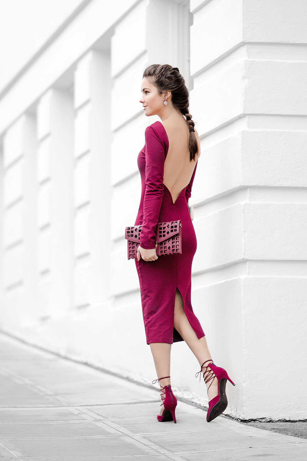 perfect valentine's day outfit Wine Red Backless Midi Dress