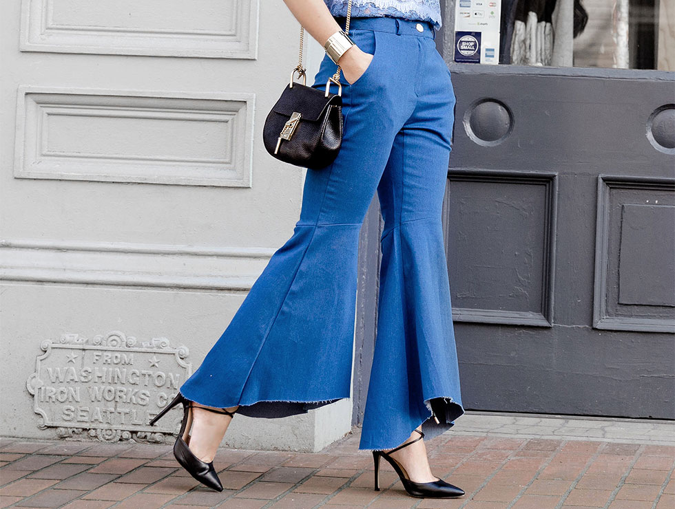 How to wear crop hi-lo flare jeans - a contemporary take on 70's bell bottoms featuring Storets Hi-lo Flare Jeans