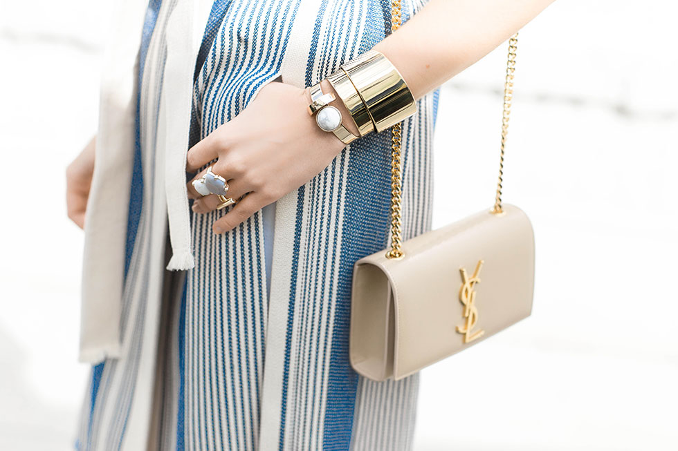 Gold Statement Jewelry and Saint Laurent Monogramme Chain Shoulder Bag Capwell + Co Alyssa Cuff Capwell + Co Gold Jamie Ring Capwell + Co Gold Alexis Ring Capwell + Co Earth and Sky Ring Bauble Bar Pisa Cuff