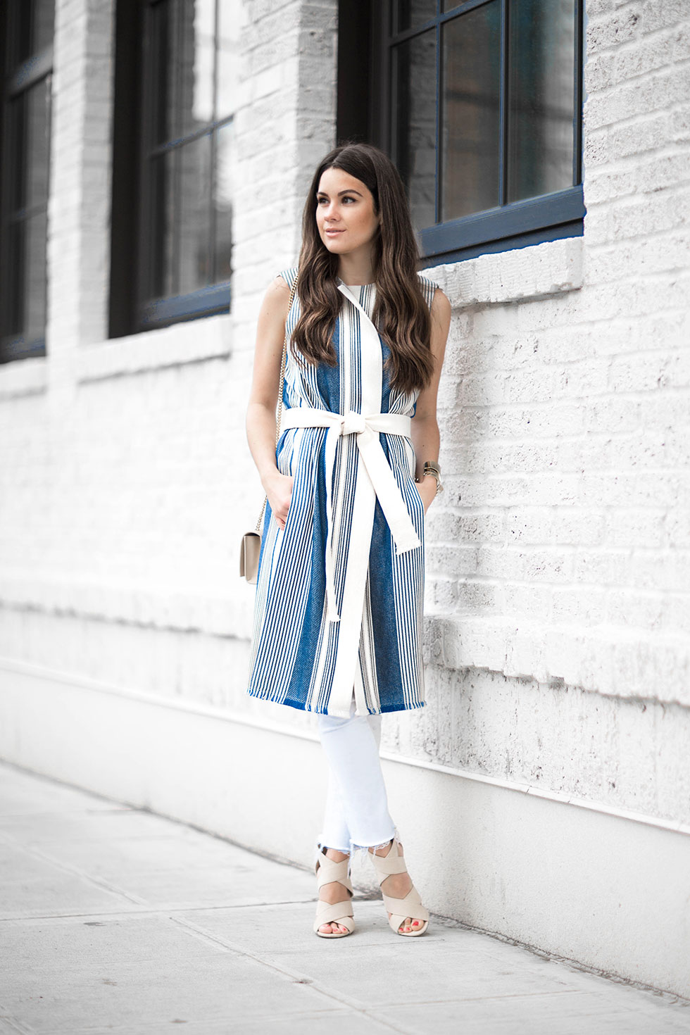 How to wear a belted stripe vest this spring featuring Lafayette 148 New York Fergie Belted Striped Vest