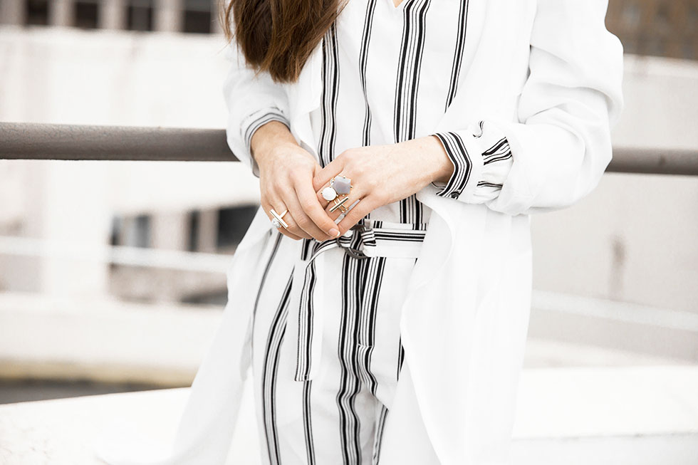 How to Wear Head-to-Toe Stripes this Spring - White Open Front Trench Coat, Sanctuary Striped Blouse, Sanctuary Striped Straight Leg Pants