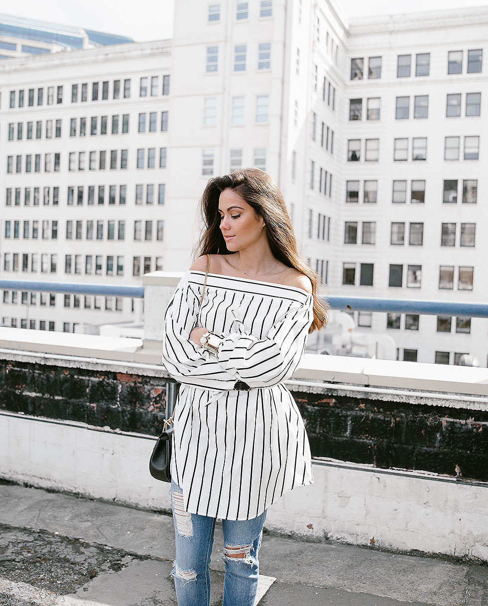 How to wear the Striped Off-the-Shoulder Poplin Top this spring for a fresh and feminine spring look that is bold, yet classic - Spring Outfit by Seattle Fashion Blogger