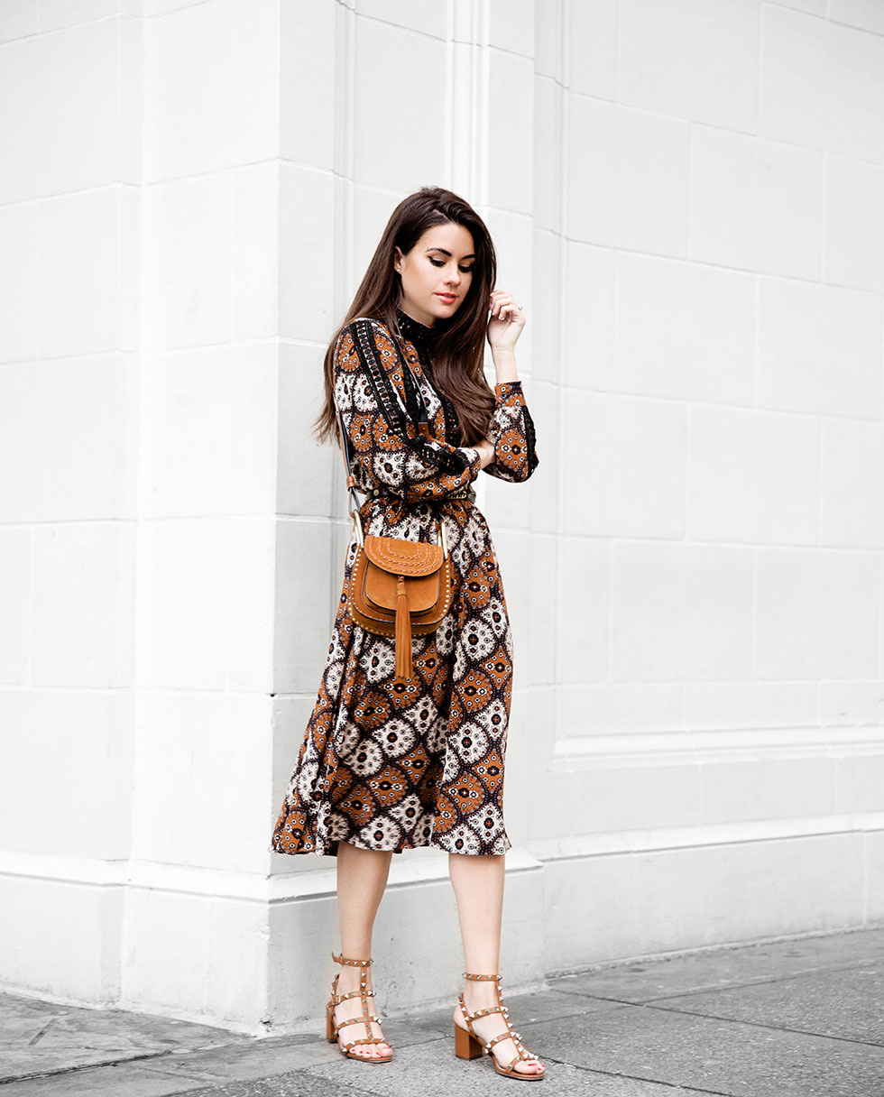 Cami Geo Paisley Bohemia Midi Skater Dress and Chloe Brown Suede Mini Hudson Crossbody Bag with Tassel