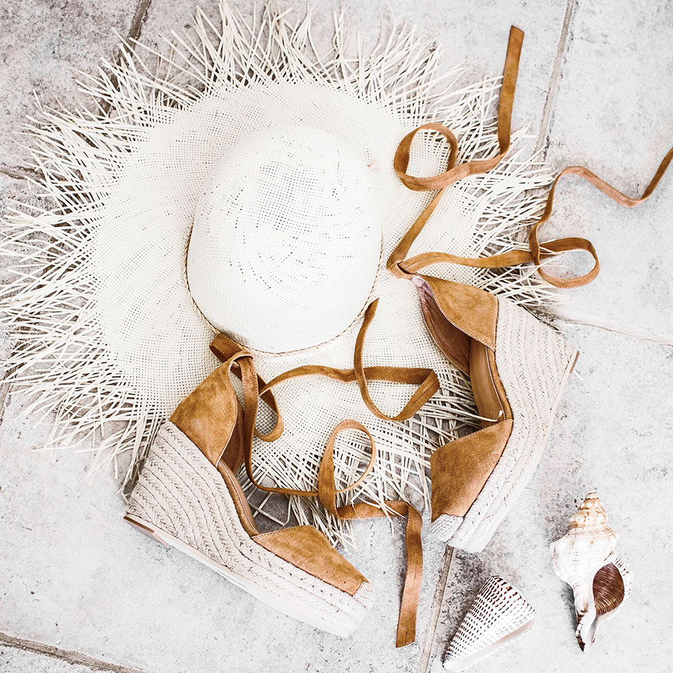 How to Pack for a Summer Beach Weekend --- Brown Suede ESPADRILLE WEDGE summer beach sandal and Brixton Morrison frayed edge straw hat-1
