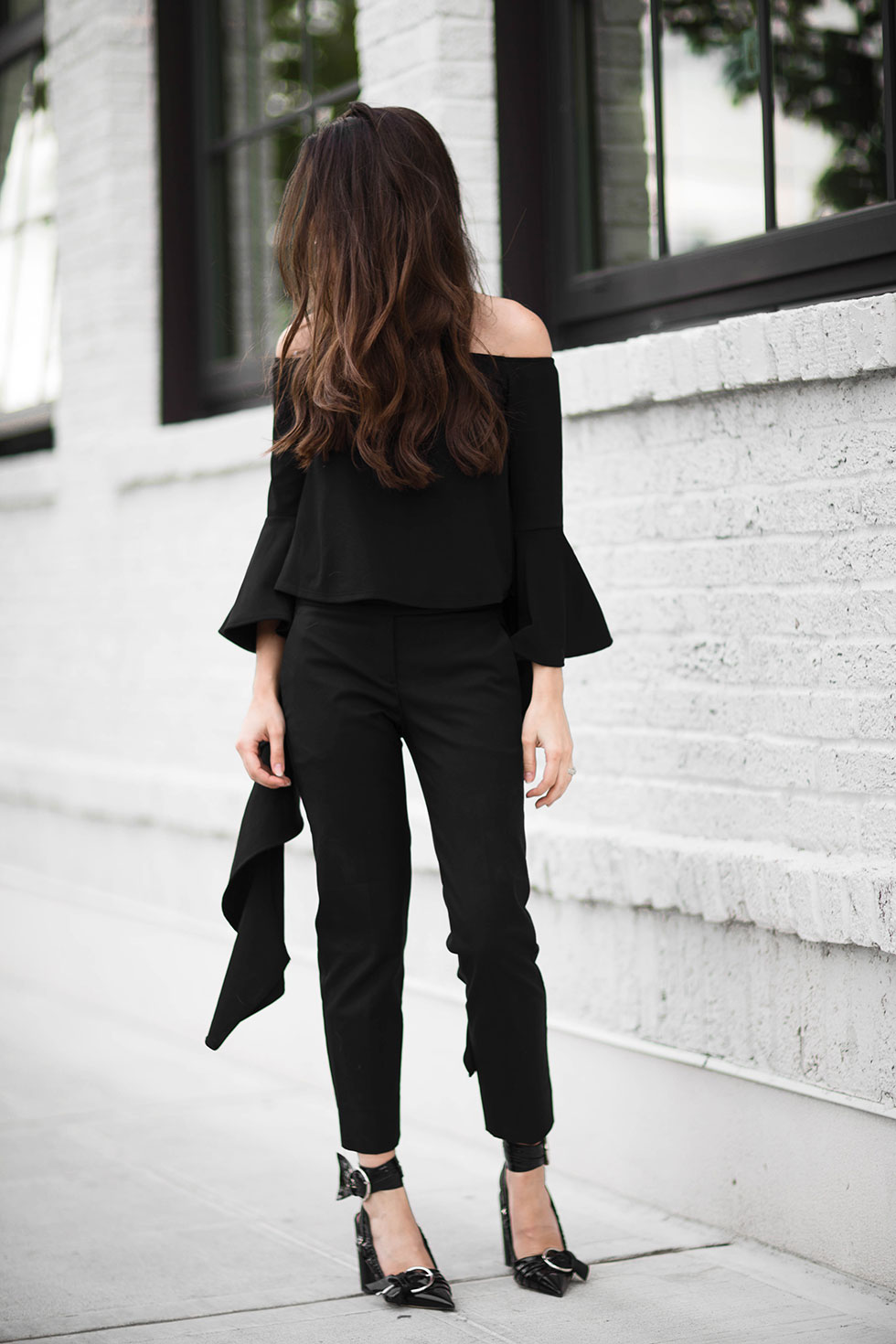 Your Not-So-Basic Guide to Rocking an Off-The-Shoulder Top -- ELLERY RUFFLE SLEEVE OFF-SHOULDER TOP, Dior Black patent calfskin slingback pump Line from the Summer 2016 catwalk show, All Black Outfit