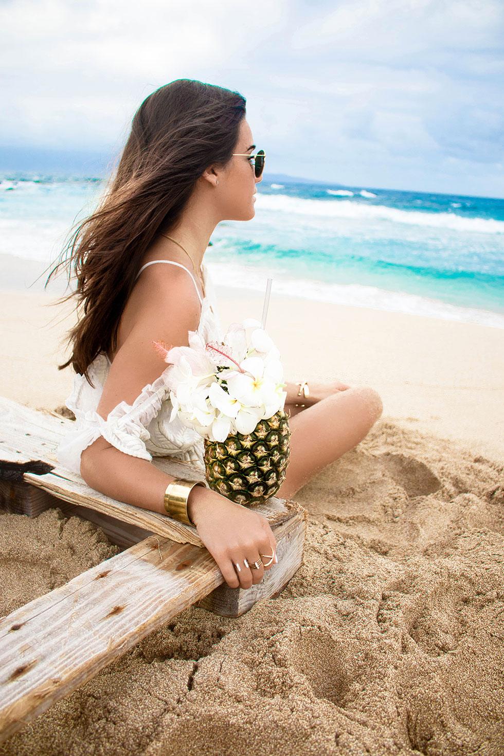 Lovers + Friends White Cold-Shoulder Ruffle-Trim Romper Maui Hawaii Beach Pineapple Cocktail
