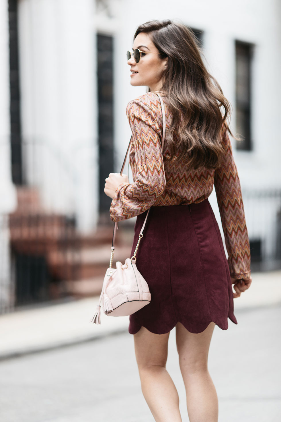 Long Bell Sleeve Top with Lace Up Front and Scallop Edge Faux Suede Skirt and Rebecca Minkoff Micro Lexi Bucket Cross Body
