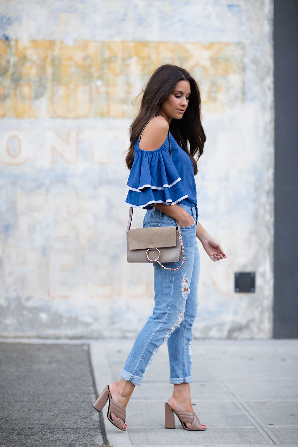 40fc6386679 ... Ruffled Sleeves Coldshoulder Top and chloe faye bag outfit ...