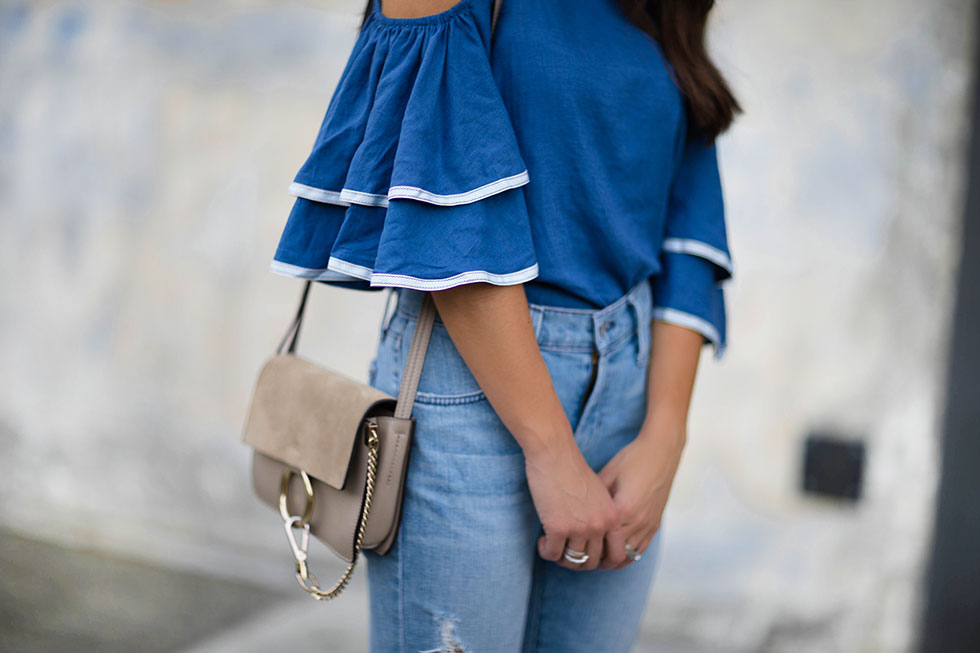 Ruffled Sleeves Coldshoulder Top and chloe faye bag outfit