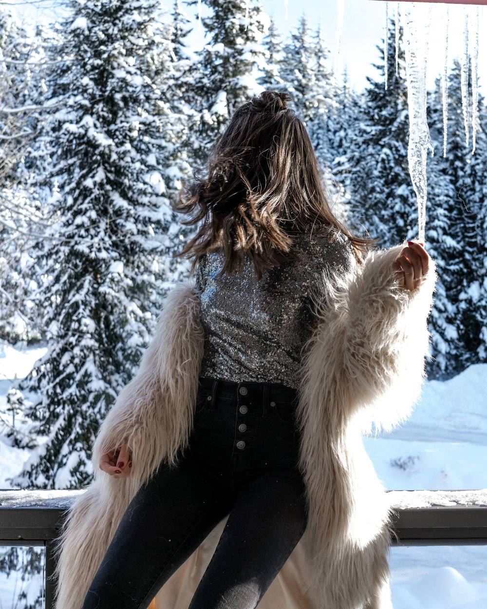 new years eve snow sequin fur outfit whistler2.jpg