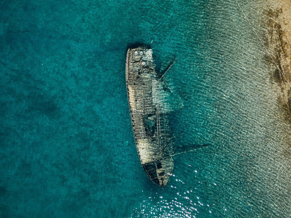 Sunken Ship, Croatia, Sea, Beach, Ship