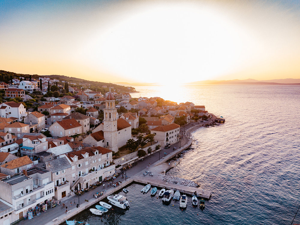 Sunset Croatia Drone City
