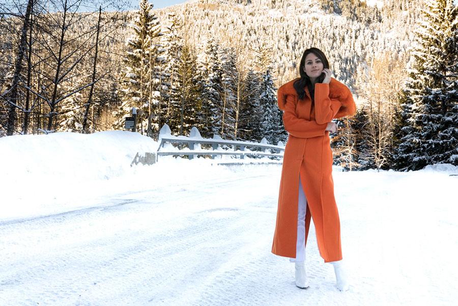 Salvatore Ferragamo Padded Wool Blend Coat in Orange Whistler Snow Outfit DSC07617.jpg