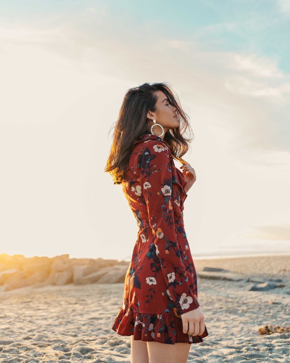 BURGUNDY-FLORAL-FRILL-WRAP-MINI-DRESS-Newport-Beach-California-Summer-Dress-2.jpg