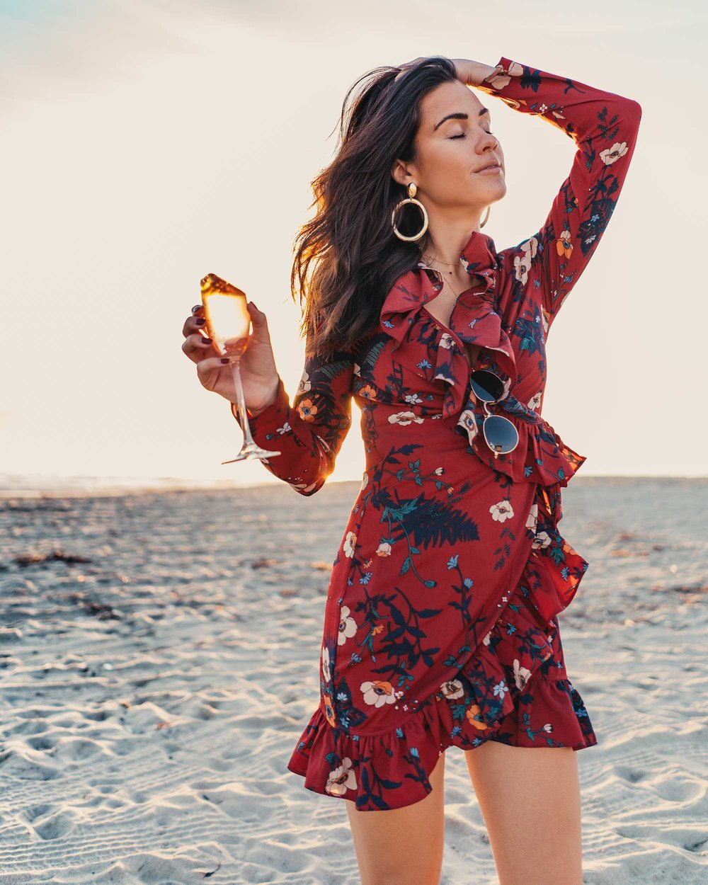 BURGUNDY-FLORAL-FRILL-WRAP-MINI-DRESS-Newport-Beach-California-Summer-Dress-6.jpg