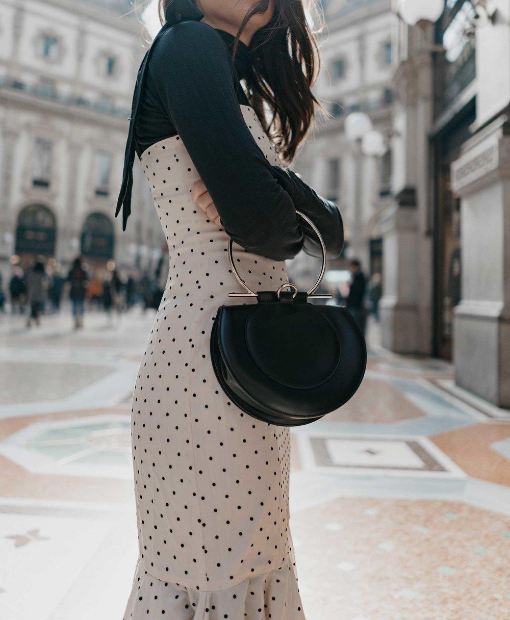 Revolve Mia Midi Polka Dot Dress in Ivory & Black Milan Outfit4.jpg