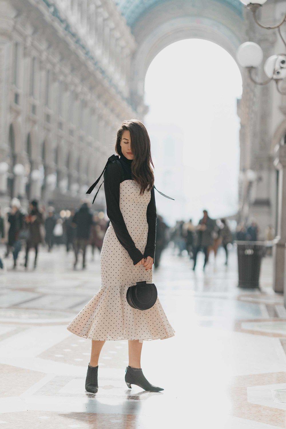 Revolve Mia Midi Polka Dot Dress in Ivory & Black Milan Outfit10.jpg