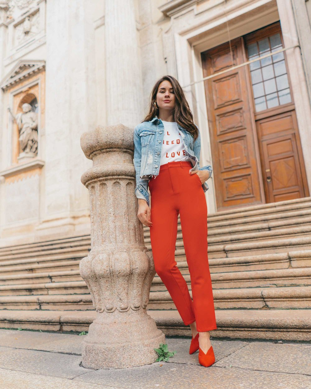 Red-Skinny-Pants,-All-You-Need-Is-Love'-Slogan-T-Shirt,-Cara-Cropped-Denim-Jacket,-Milan-Spring-Outfit1.jpg