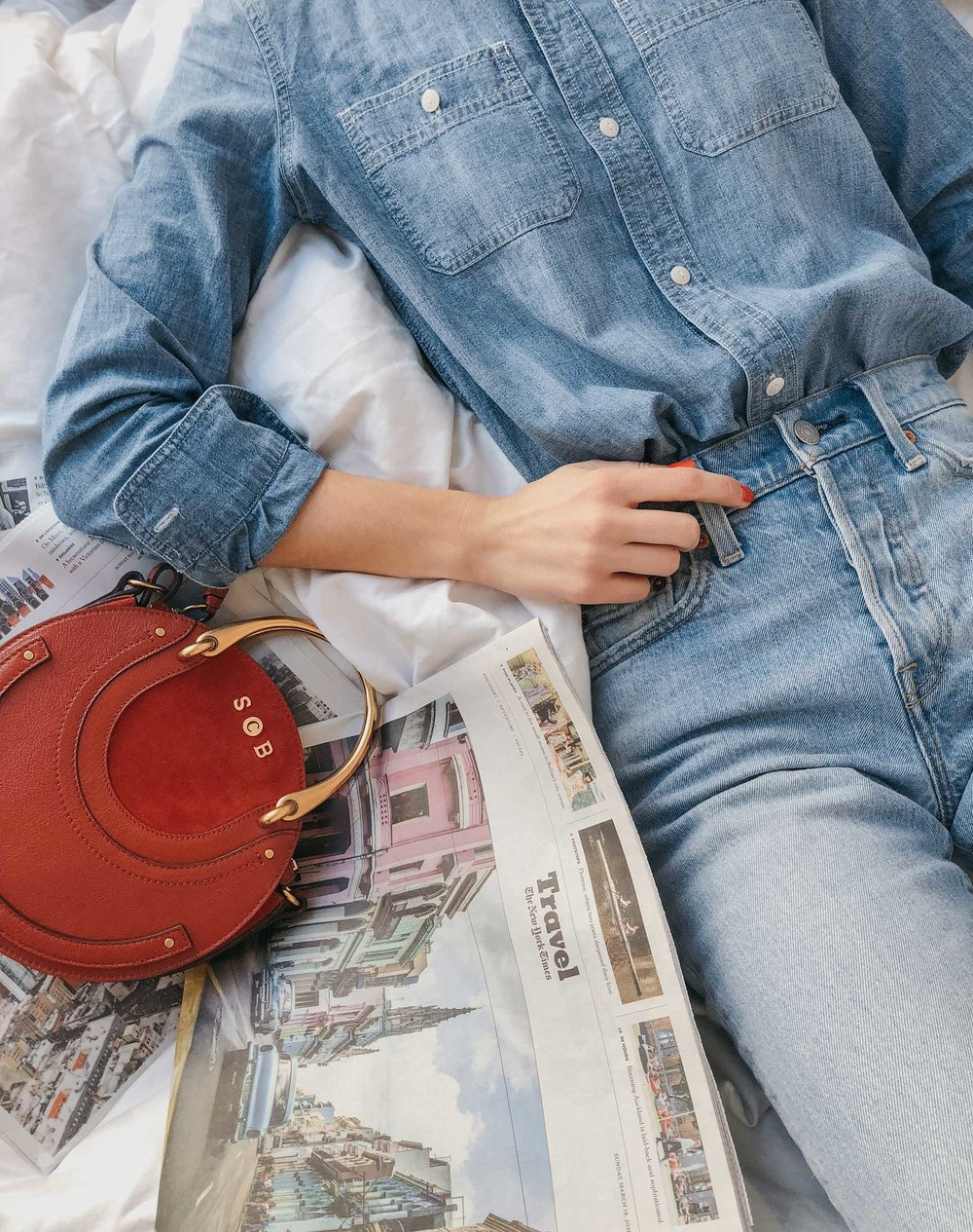 Madewell Chambray Boyfriend Shirt  Levi's Wedgie High-Rise Straight Jeans Chloe Pixie Leather Crossbody Bag4.jpg
