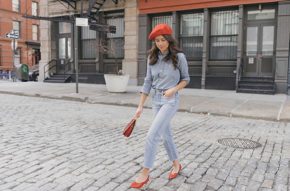 Madewell-Chambray-Boyfriend-Shirt--Levi's-Wedgie-High-Rise-Straight-Jeans-Chloe-Pixie-Leather-Crossbody-Bag-Sigerson-Morrison-Red-Slingback-Pump-3.jpg