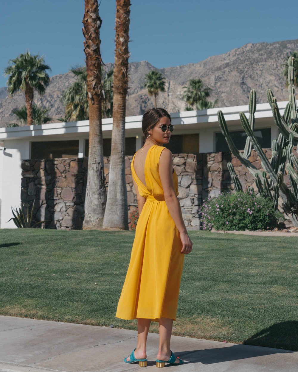 Feminine Yellow Cross Front Midi Dress Palm Springs Outfit11.jpg