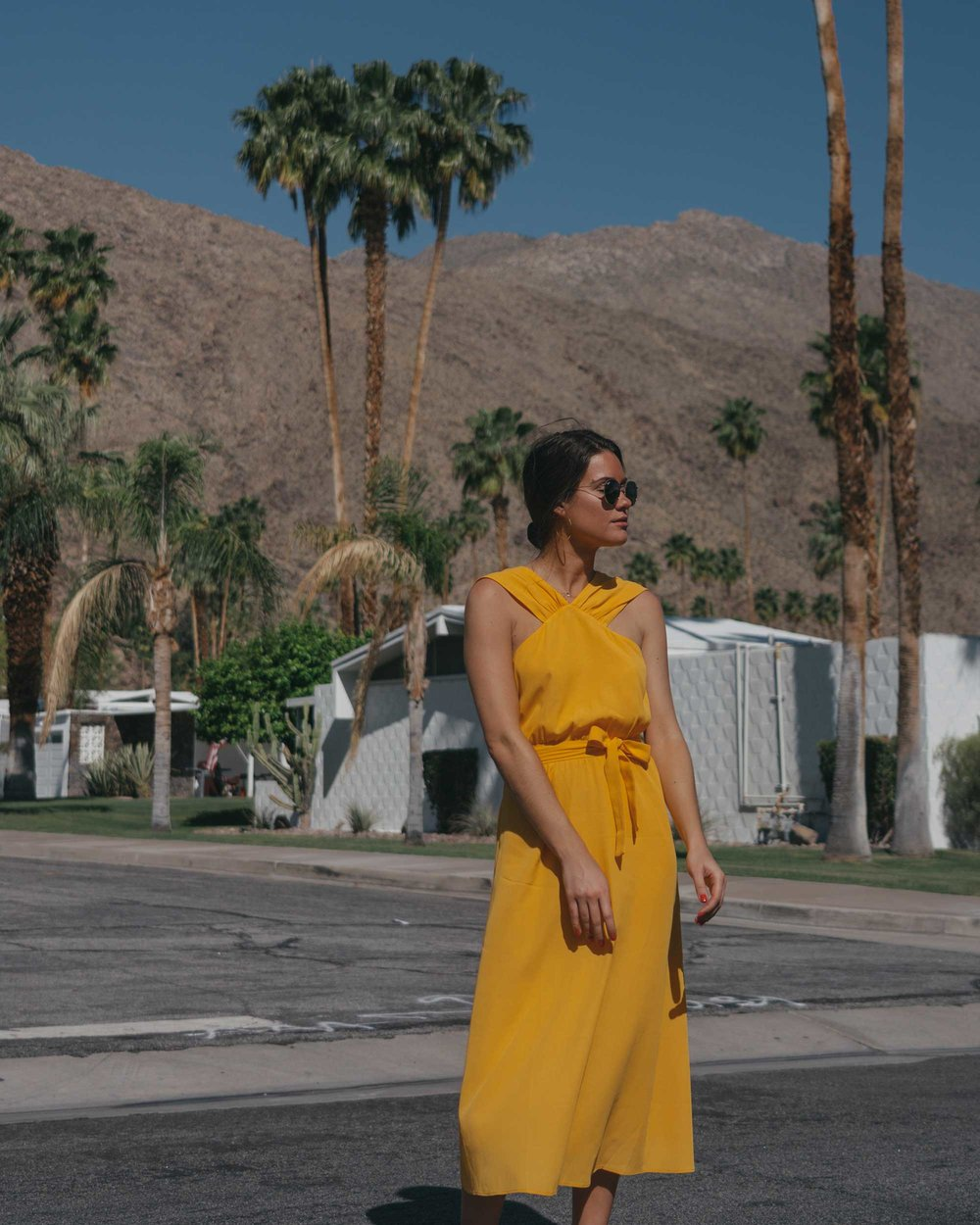 Feminine Yellow Cross Front Midi Dress Palm Springs Outfit4.jpg