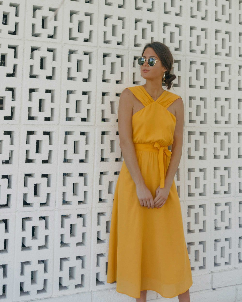 Feminine Yellow Cross Front Midi Dress Palm Springs Outfit9.jpg