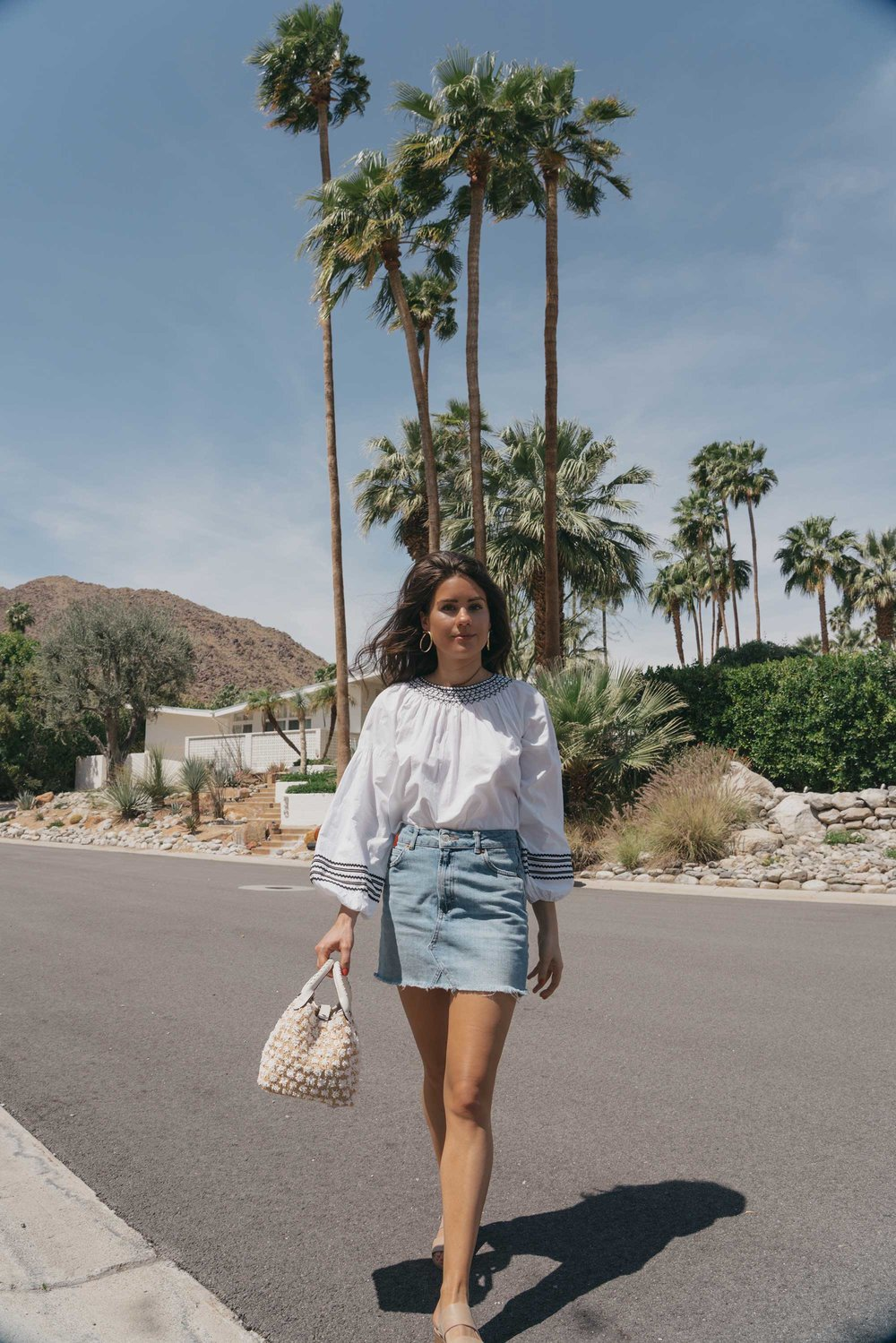 Road Trip Palm Springs Outfit Poplin Top and High Rise Denim Mini Skirt1.jpg