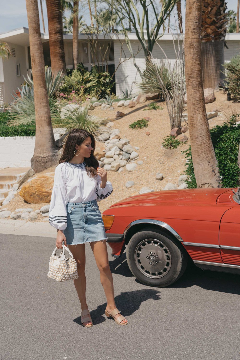 Road Trip Palm Springs Outfit Poplin Top and High Rise Denim Mini Skirt5.jpg