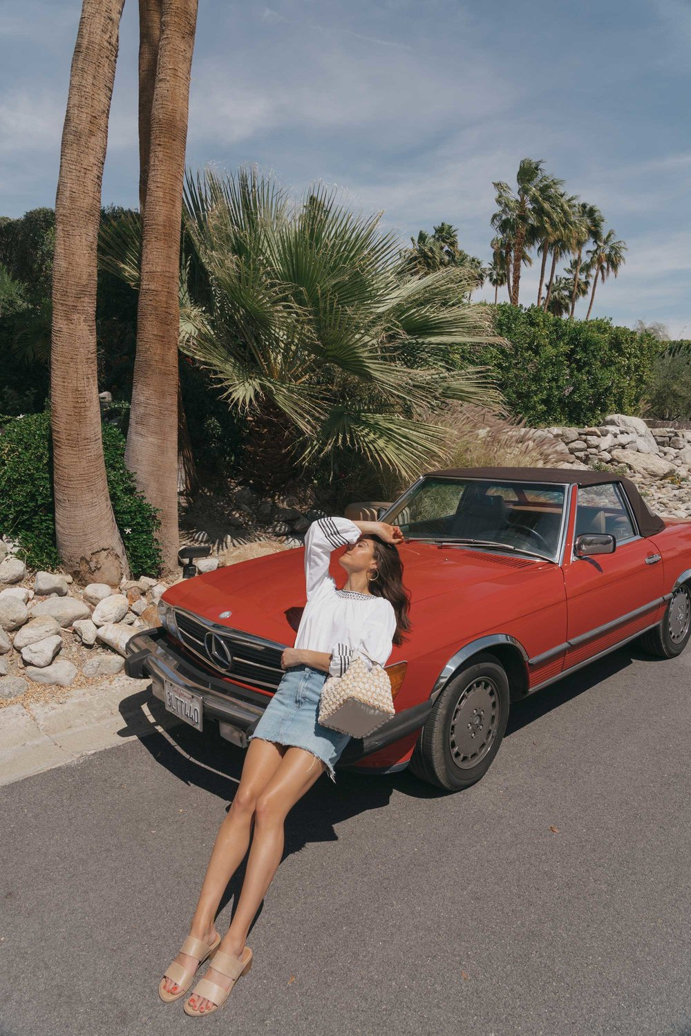 Road Trip Palm Springs Outfit Poplin Top and High Rise Denim Mini Skirt12.jpg