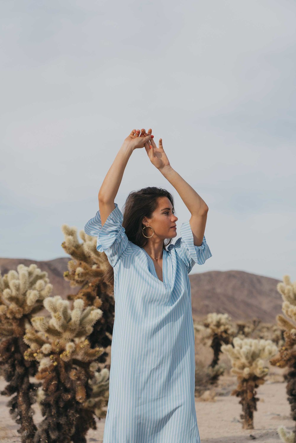 Frill Sleeve Maxi Shirt Dress Festival Outfit Coachella Joshua Tree Cholla Cactus Garden20.jpg