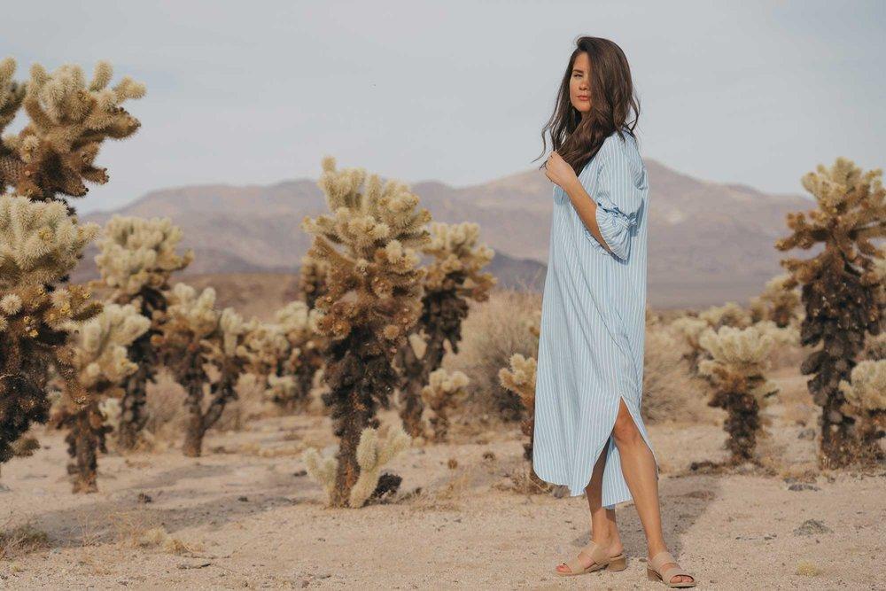 Frill Sleeve Maxi Shirt Dress Festival Outfit Coachella Joshua Tree Cholla Cactus Garden1.jpg