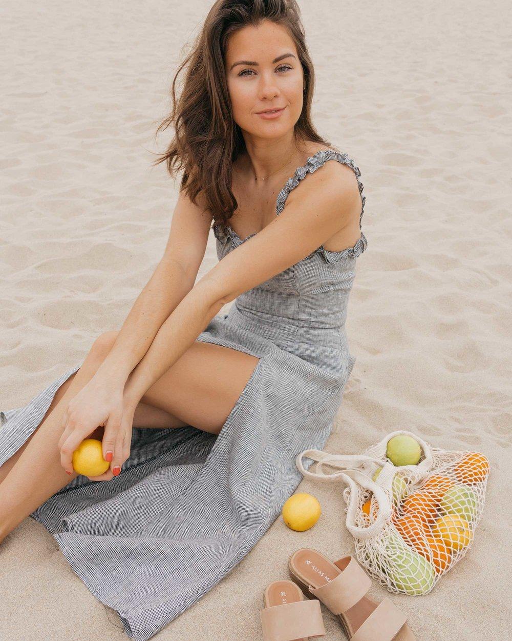 Reformation Lavendar Midi Dress Cotton Net Shopping Tote Newport Beach California Summer Outfit1.jpg