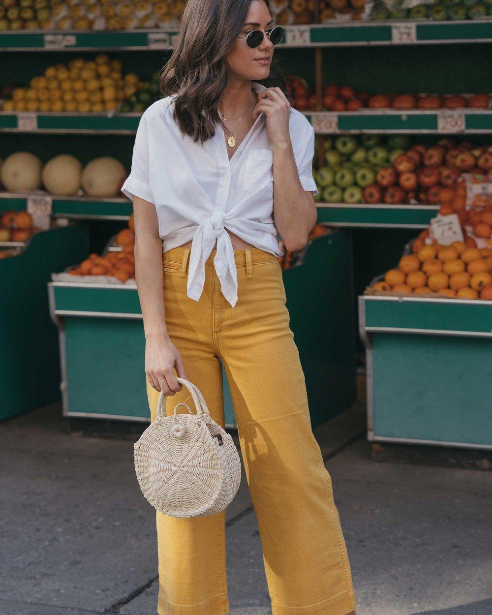 Madewell emmett wide-leg crop pants Round Woven Bag short-sleeve tie-front shirt summer outfit fruit stand new york13.jpg