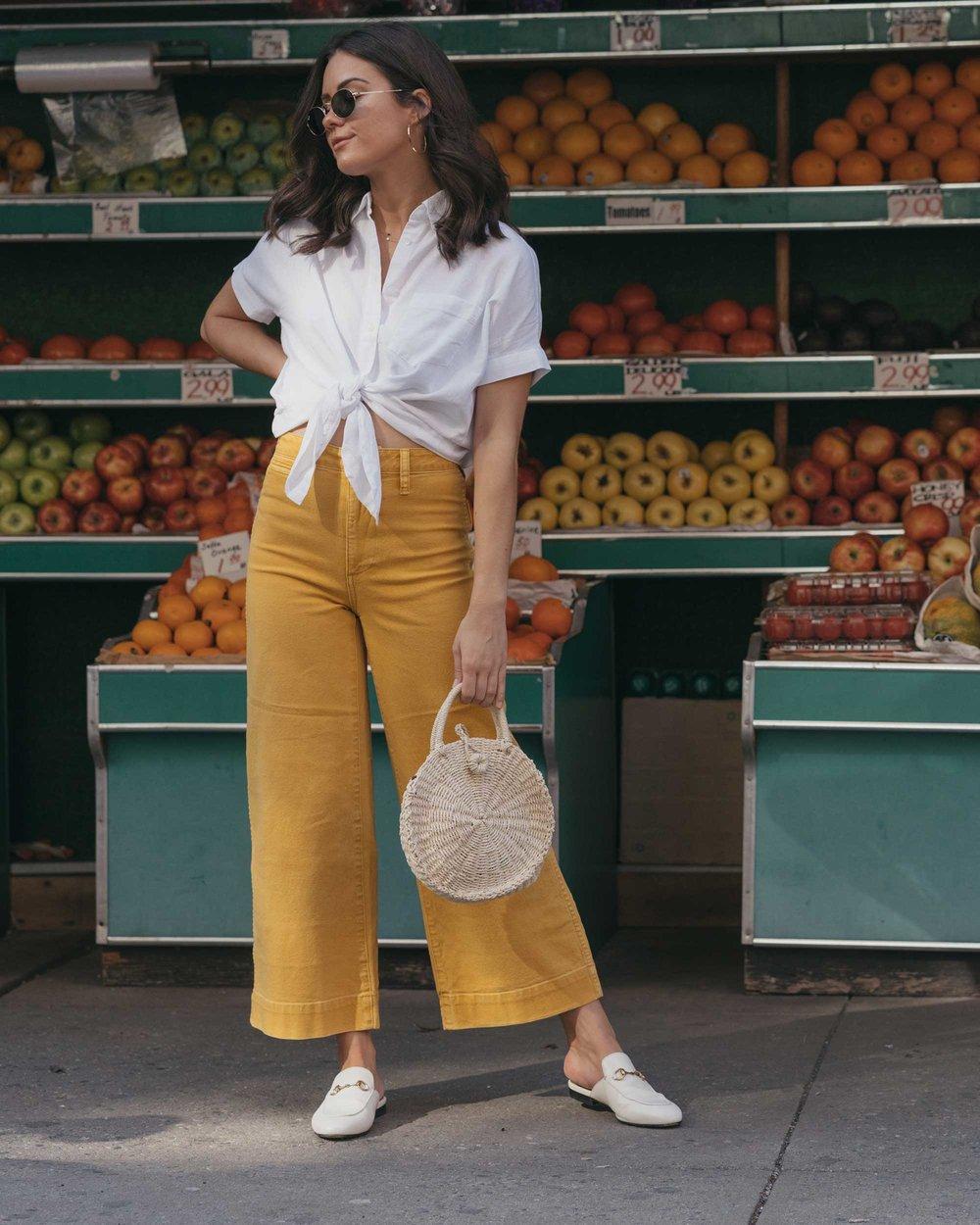 Madewell emmett wide-leg crop pants Round Woven Bag short-sleeve tie-front shirt summer outfit fruit stand new york17.jpg